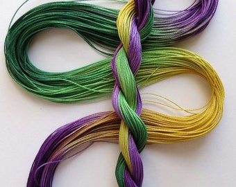 "Size 20 ""Mardi Gras"" hand dyed thread 6 cord cordonnet tatting crochet cotton"