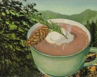 Woodsy Rustic Cabin Decor for Kitchen, Pinecone Hot Chocolate, Original Collage Art, Pine Tree Forest, Ski Lodge Decor, Pine Cone Hot Cocoa