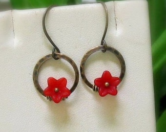 Red Lucite Flowers on Hammered Antique Brass Rings, Handmade Earwires... Dainty Floral Earrings