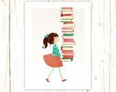 Library Girl Art Print -- librarian, teacher, book, reader, geek, nerd, gift, girl, pink, orange, turquoise, aqua, cute, whimsical, brunette