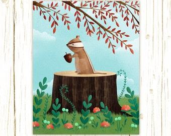 chipmunk art print -- Woodland Friends Chipmunk -  chipmunk artwork, nursery, kids art, childrens room art, forest, grey, flower