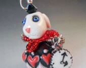 White Rabbit Pendant , Porcelain and Sterling Silver, Alice in Wonderland, Clock Charm, Art Beads, Storybook Character, Red Hearts