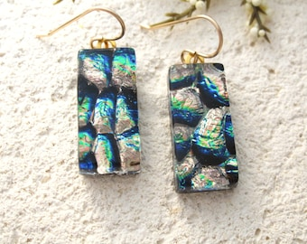 Gold Blue Green Earrings  Dichroic Earrings, Dangle Drop Earrings, Fused Glass Jewelry, Gold Filled Earrings, Hanging Earrings, 082216e100