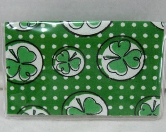 Business Card Holder Shamrock Green Clover Mini Wallet LIMITED