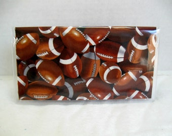 Football Checkbook Cover Sports Cash Holder Works with Duplicate Checks