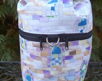 Castle knitting project bag, drawstring bag, knitting in public bag, small project bag, Castle Turret, Kipster