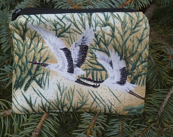 Japanese cranes coin purse, credit card case, gift card pouch, flying cranes on green, The Raven