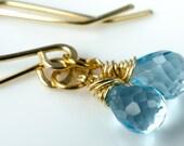 Faceted Swiss Blue Topaz 14k Gold Fill Earrings