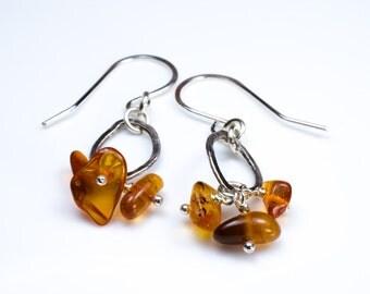 Amber Silver Oval Earrings