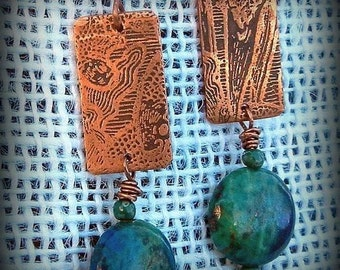 Blue Lapis Malachite Etched  Copper Handmade Organic, Underwater, Fish  Earrings Copper Jewelry  SRA Artisan jewelry