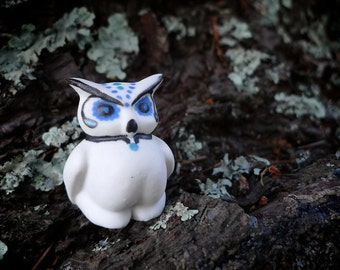 Porcelain Forrest Animals- Sugar Skull Small Owl--SALE--