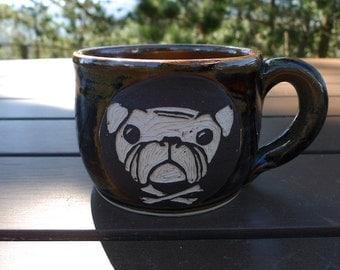 Stoneware Sgraffito Bulldog Mug
