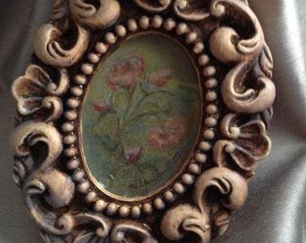 Shabby Chic Roses on Blue Antiqued Pastel Original