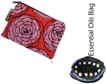 Essential Oil Bag - Essential Oil Pouch - Oil Bags - Waterproof lining fabric - Rose Dots Fabric