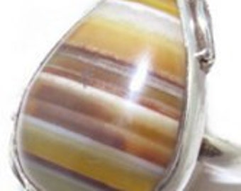 Sale: Brown Agate and Sterling Silver Ring Size 8-1/2