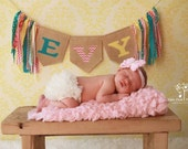 Custom Burlap Name Banner with Rag Garland ~ Nursery/Baby Child's Room~Shabby Chic~Photo Prop