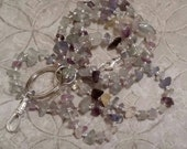 Rainbow Fluorite gemstone chip lanyard ... perfect for your ID badge key eyeglasses Back to School