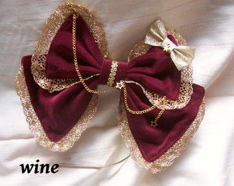 CIRCUS HEADDRESS Velvet Sparkle Bow- Gold or Silver