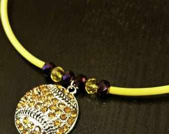 Purple and Golden Yellow Crystal Baseball or Softball Necklace
