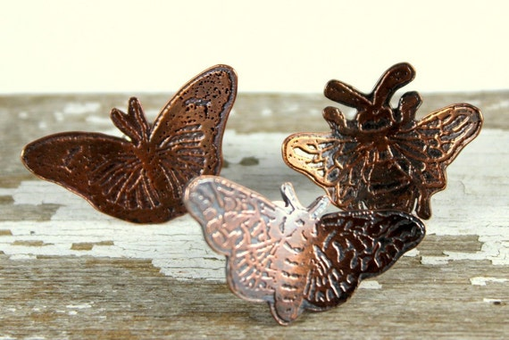 Etched Copper Moth, Bee or Butterfly Brooch, Etched Copper Pin, Tie Pin