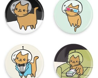 Cute Buttons Space Kitty Pinback Button Set Astronaut Cat Cute Pin Badge Magnet Set