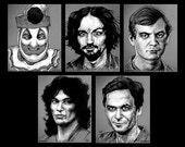 "Prints 8x10"" - The Black and White Serial Killer Series - John Wayne Gacy Charles Manson Jeffrey Dahmer Richard Ramirez Ted Bundy Dark Art"