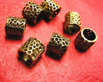 10pc antique gold metal tube bead-1725A