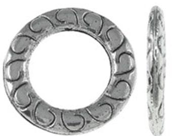 12pc 14mm antique silver finish metal donut shape links-B20