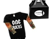 One Rocks Rockstar Baby Kit- black onesie with tattoo sleeves. Great for a 1st birthday photo shoot!