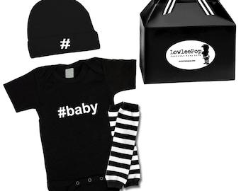 Hashtag Baby Rockstar Kit black romper one piece layette leg warmers hat  onesie
