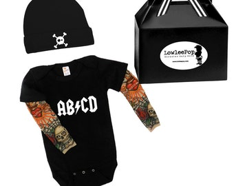 ABCD Baby Boy Gift Set - black onesie with tattoo sleeves, Hat and gift box