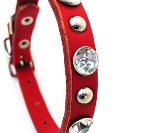 Red Leather Dog Collar with Big Rhinestones & Silver Studs, EcoFriendly, Size XS, to fit a 7-10in Neck, Small Dog