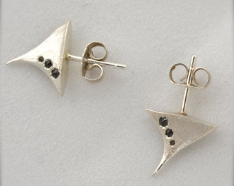 Silver Rose Thorns with Black Diamonds Thorn Stud Earrings