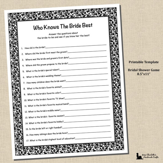 Bridal Shower Who Knows Bride Best Game 8.5x11 Black