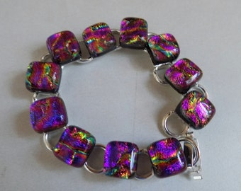 Pink Purple Fused Dichroic Art Glass Jewelry Silver Plated Link Bracelet