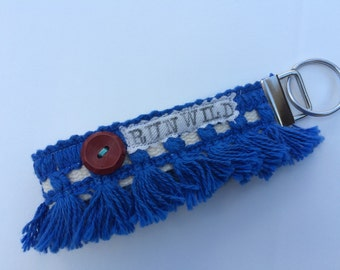 Run Wild Blue Hippie Chic Key Chain Wristlet