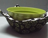 Microwave Bowl Cozy or Potholder Green and Black Fabric