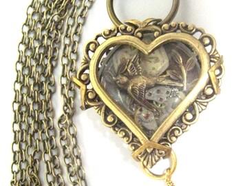 Sparrow Heart Under Glass  ... Steampunk Sparrow Under Glass Creation , Victorian Heart Shadowbox, One of a Kind