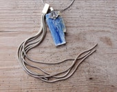 Druzy Kyanite Necklace Hand formed Sterling Silver Statement jewelry