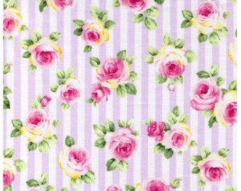 HALF YARD - Roses on Purple and White Stripes - Lolita, Flowers, Leaves, Kawaii  - Cosmo Textiles Japanese Import