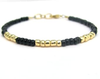 Friendship Bracelet, Black Friendship Bracelet, Gold Bracelet, Black Bead, Beaded Bracelet, Dainty Bracelet, Hawaii Jewelry, 24K Gold Glass