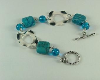 Chrysocolla and silver bracelet-B-14