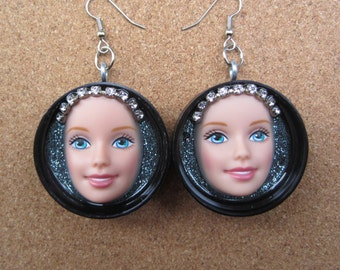 Bedazzled  - Barbie  face earrings - black caps