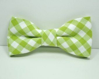Lime Green Gingham Boy's Bow Tie
