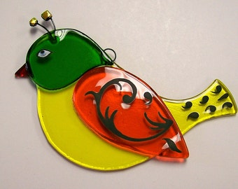 Fused Glass Bird Suncatcher (Yellow)