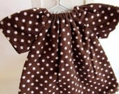 brown polkat dot, doll nightgown, for Waldorf dolls, 12 inch dress, doll clothes, germandolls, gift for girls