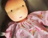 Pink Litte Sheep, 10 - 12 inch, waldorf doll clothes, germandolls, pink Lamb Pajamas, Steiner dolls, waldorf toy
