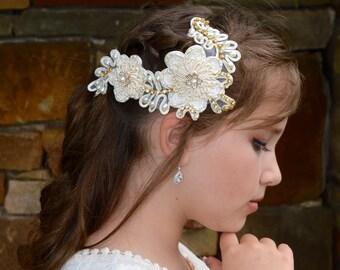 Ivory Cream Beaded Pearl and Rhinestone Wedding Lace Flower Headpiece