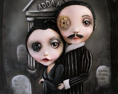 Addams Family Morticia and Gomez Pop Surrealism Fine Art Print 2 of 50 by Michele Lynch