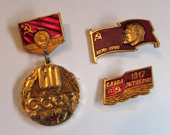 Trio of Vintage Russian pins, badge medal Soviet Union 60th Year Anniversary, 1982 USSR, Lenin, flag, red, CCCP  - Trio C